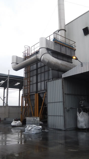 Double filter 870 m2 in a biomass fired boiler