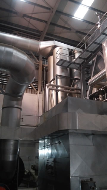 Multi cyclone 65.000 m3/h for a biomass fired boiler