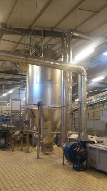 Φίλτρο και εγκατάσταση αποκονίωσης γραμμής παραγωγής σε εργοστάσιο τροφίμων στη Πολωνία