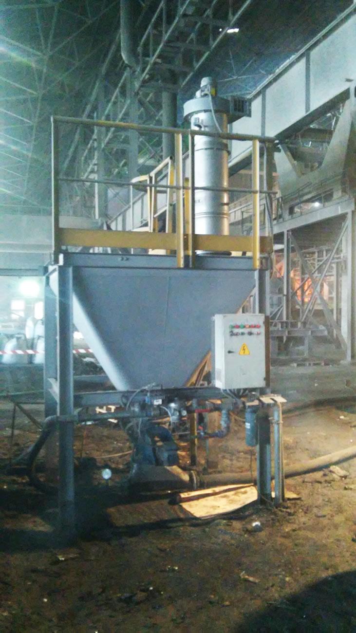 Αερομεταφορά σκόνης άνθρακα  δυναμικότητας 10 t/h  σε χαλυβουργία