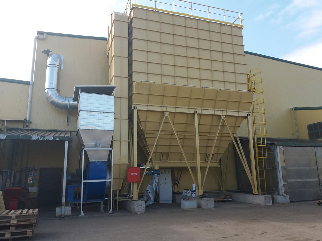 Αντιεκρηκτικό φίλτρο ATEX ZONE 21 επιφάνειας 900 μ² αποκονίωση εργοστασίου ανακύκλωσης
