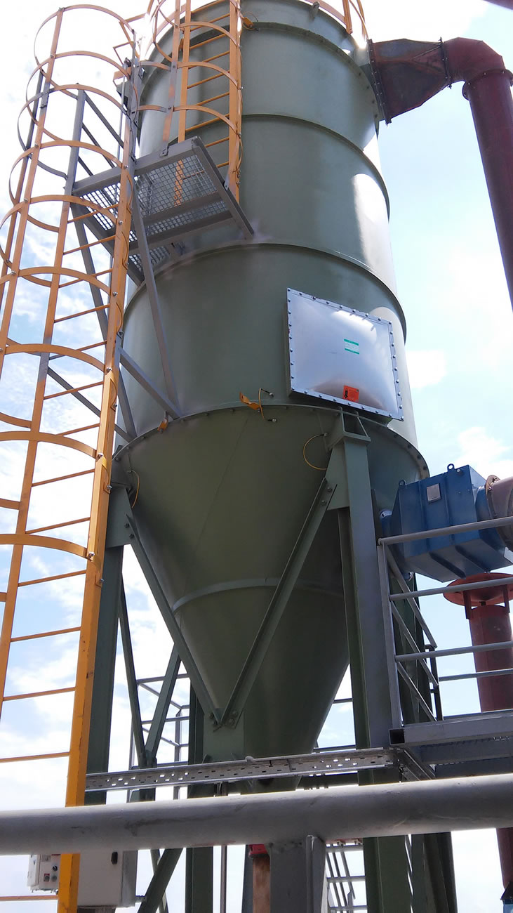ATEX ZONE 21 rated filter with 140 m2 filtering area for dedusting a coal mill in a cement factory